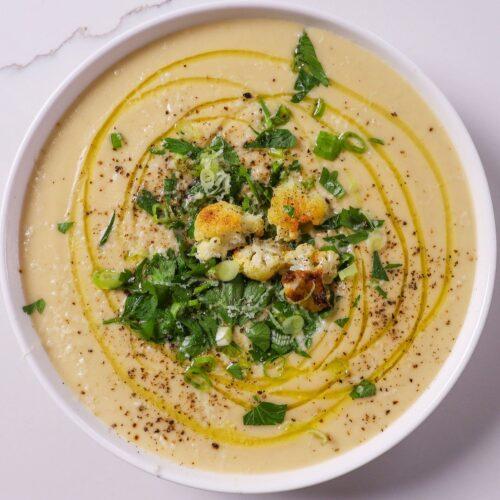 cauliflower leek cheddar soup